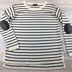J. Crew Striped Sweater Elbow Patches Medium Wool